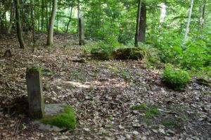 Alter jüdischer Friedhof: Der zweite Grabstein (vorne) ist nur noch als Fragment erhalten.